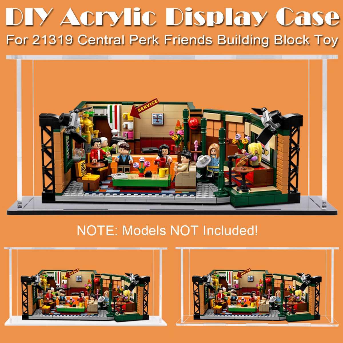 DIY Acrylic Display Case Self-Install Clear Cube Box Dustproof ShowCase Bricks Display Box For LEGO 21319 Central Perk Friends